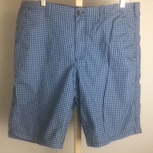 Express blue on blue shorts.       34